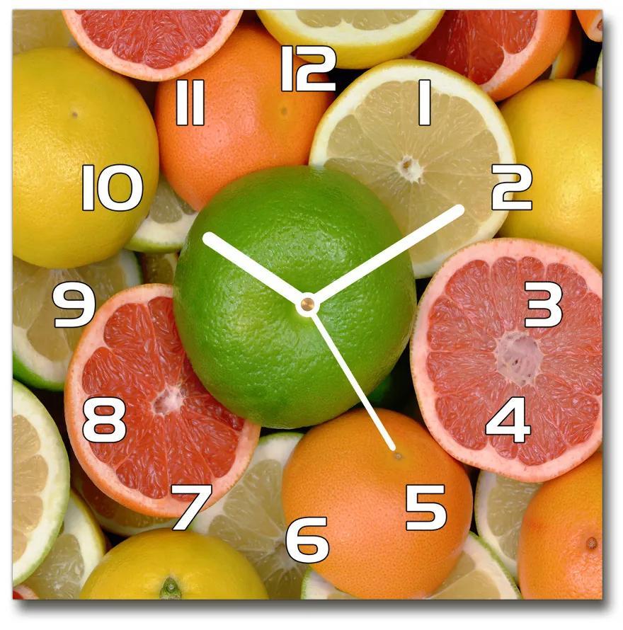 Sklenené hodiny štvorec Citrusové ovocie pl_zsk_30x30_f_75213206