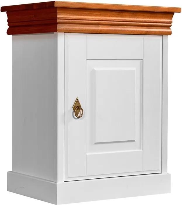 Nočný stolík Toskania, dekor biely/medový, masív, borovica