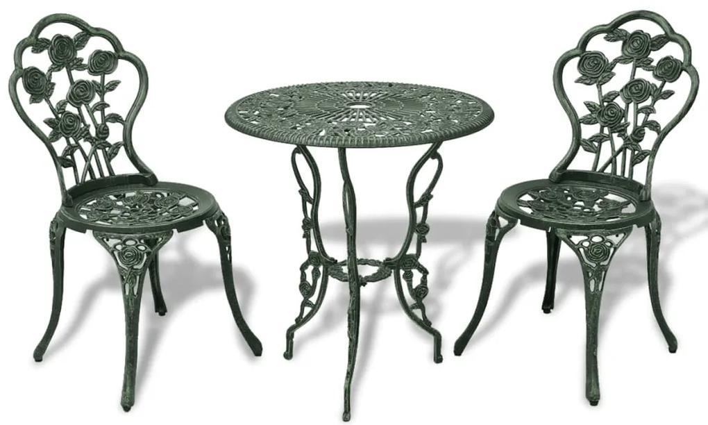 vidaXL Zelená záhradná bistro súprava z liateho hliníka, 3-dielna