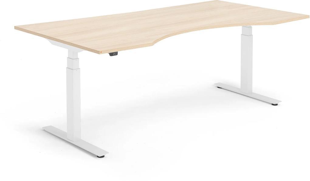 Výškovo nastaviteľný stôl Modulus, vykrojený, 2000x1000 mm, dub/biela
