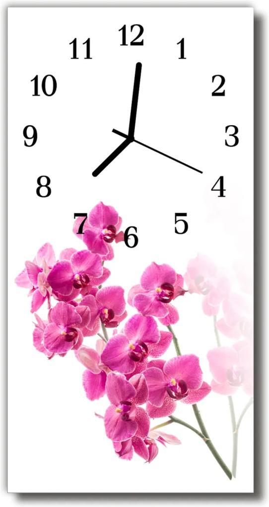 Skleněné hodiny vertikální Květiny Barevné orchideje