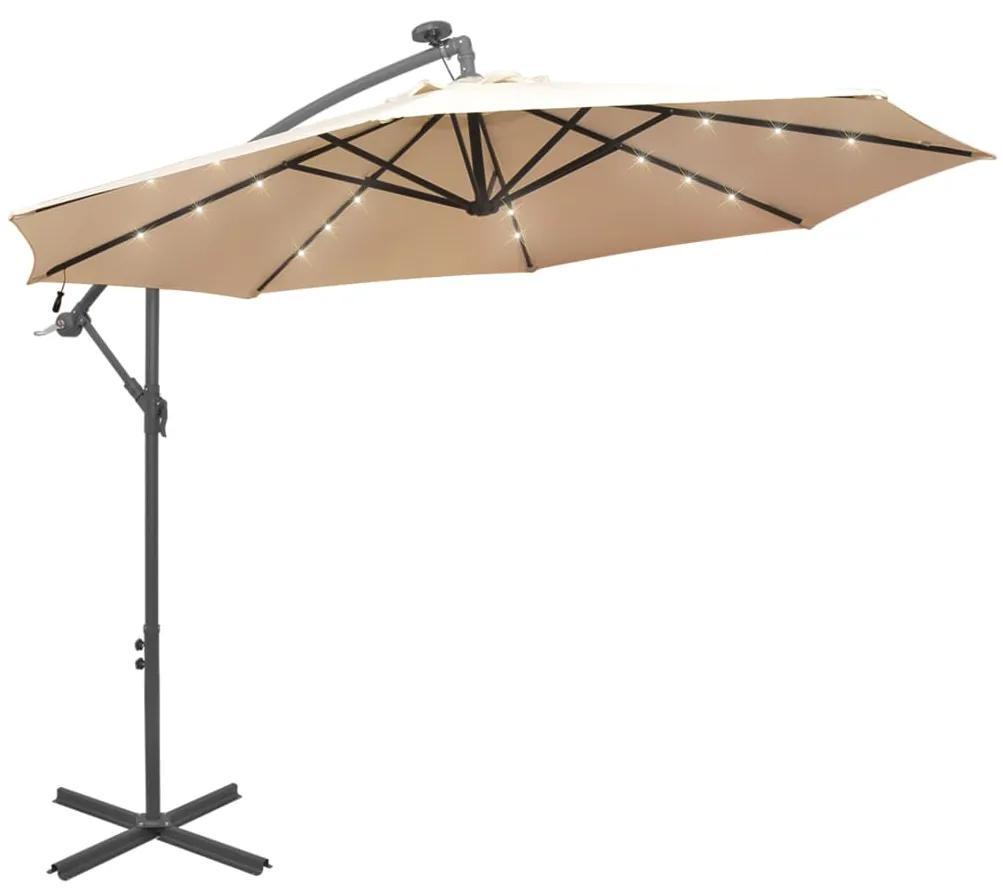 vidaXL Visiaci slnečník s LED osvetlením a kovovou tyčou, 300 cm, piesková farba