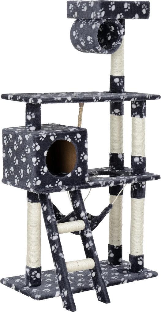 [en.casa]® Škrabací strom pre mačky - 70 x 50 x 141 cm - sivý s bielym vzorom