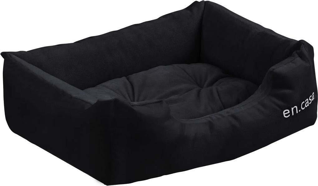 [en.casa]® Pelech - pre mačky a psov - s obojstranným vankúšikom - oxford látka / PP-bavlna - 50 x 38 x 17 cm [S] - čierny
