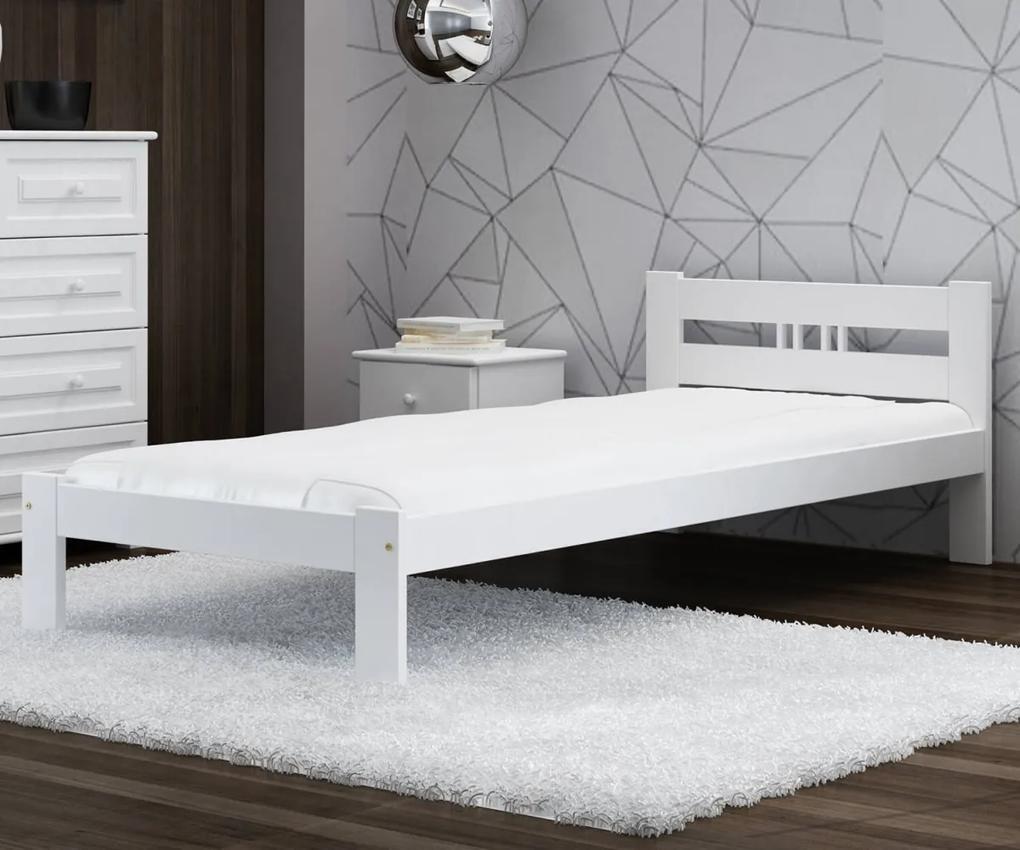AMI nábytok Posteľ borovica ESM1 VitBed 80x200cm masiív biela