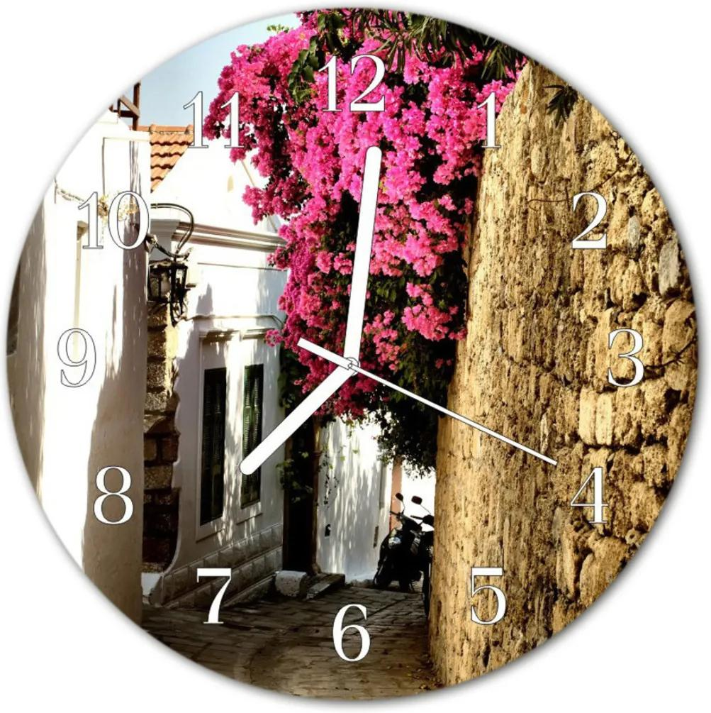 Skleněné hodiny kulaté Květinová alej