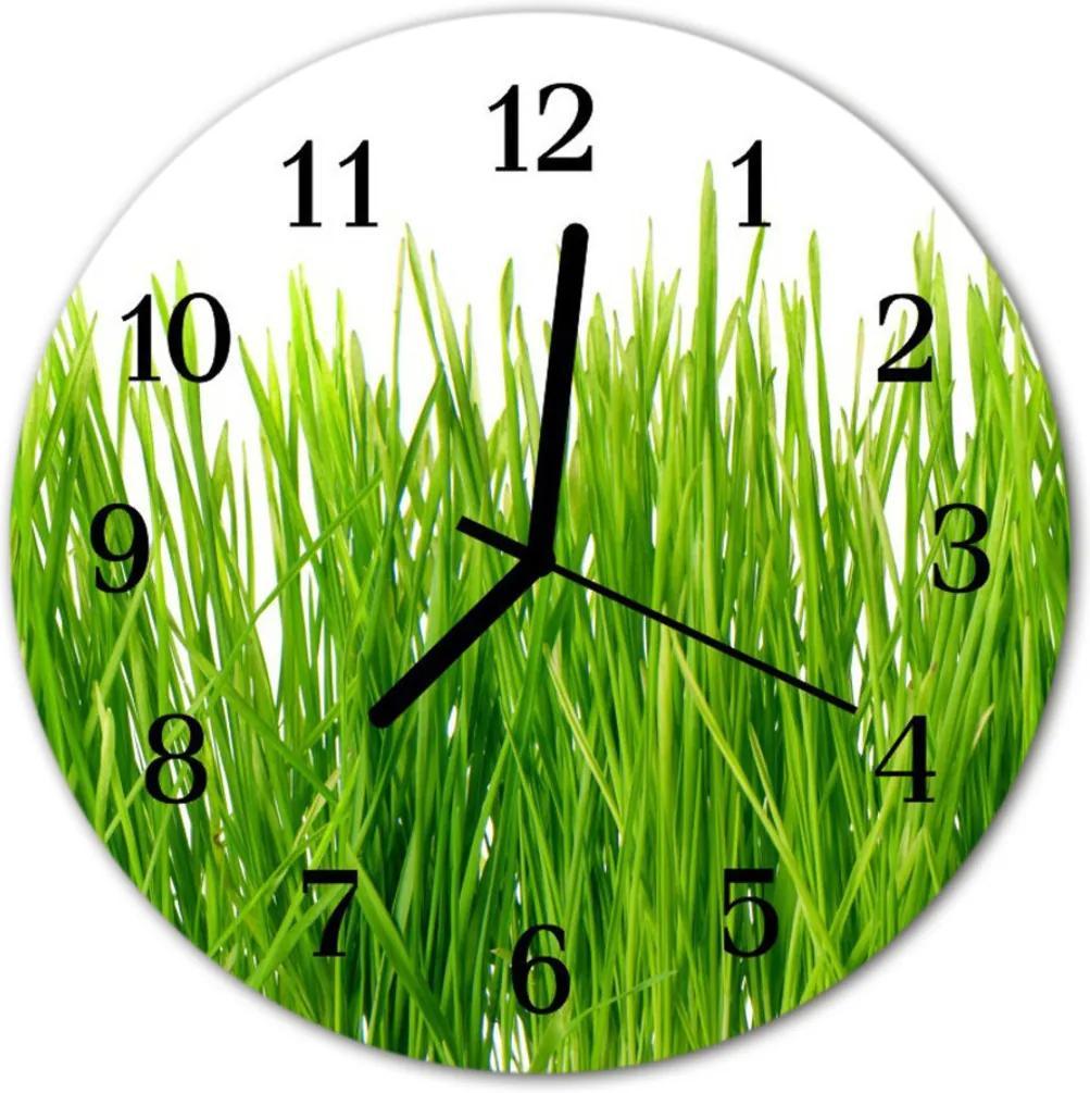Nástenné skleněné hodiny tráva