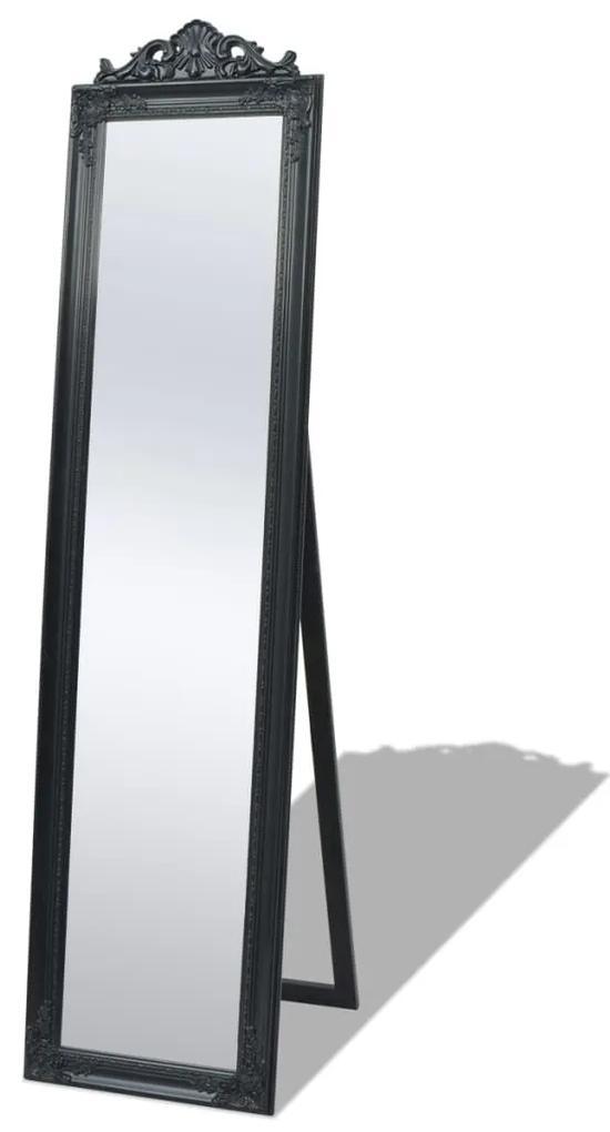 vidaXL Samostatne stojace zrkadlo, barokový štýl, 160x40cm, čierne