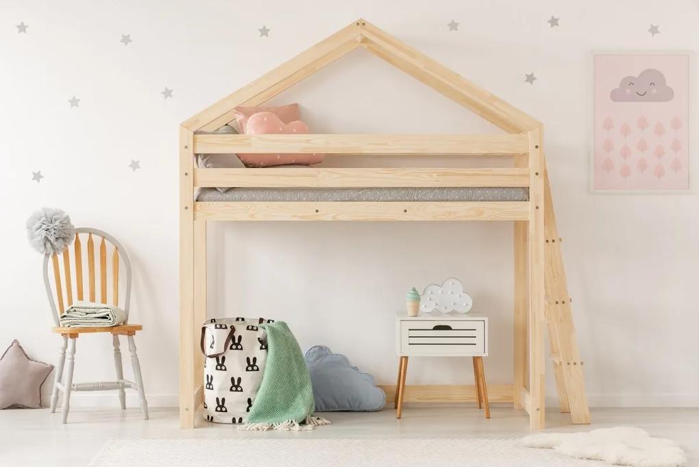 MAXMAX Detská vyvýšená posteľ z masívu DOMČEK - TYP B 140x70 cm 140x70 pre dievča|pre chlapca|pre všetkých NIE