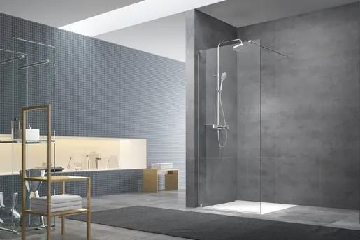 Sprchová zástena Walk-In 140 cm s pántmi a zavetrením Swiss Aqua Technologies Walk-in chróm lesklý SATBWI140PA