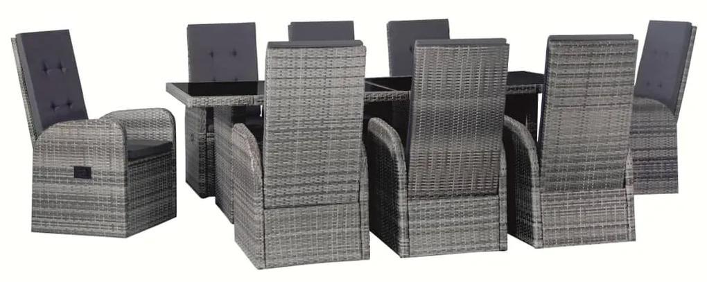 vidaXL 25-dielna vonkajšia jedálenská súprava polyratanová sivá