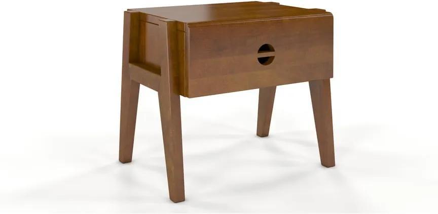 Nočný stolík z bukového dreva so zásuvkou v dubovom dekore Skandica Visby Radom