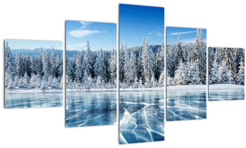 Obraz zamrznutého jazera a zasnežených stromov (125x70 cm), 40 ďalších rozmerov