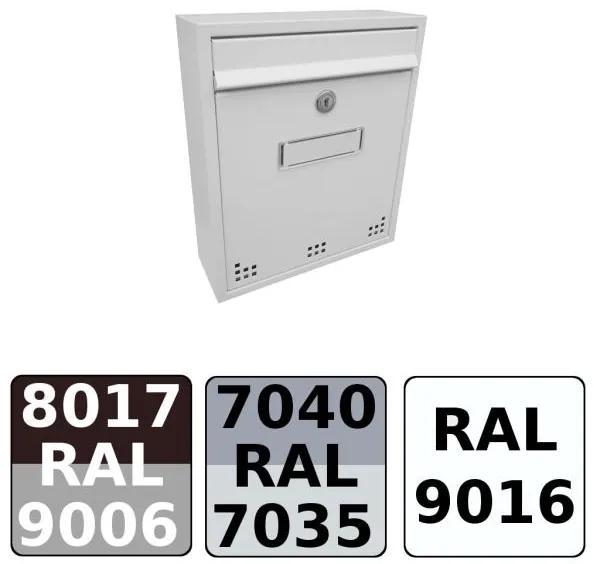 Poštová schránka DLS-H-011 s hliníkovou sklapkou, interiérové schránky / Barva schránky:Hnědá RAL 8017 / Stříb. RAL 9006
