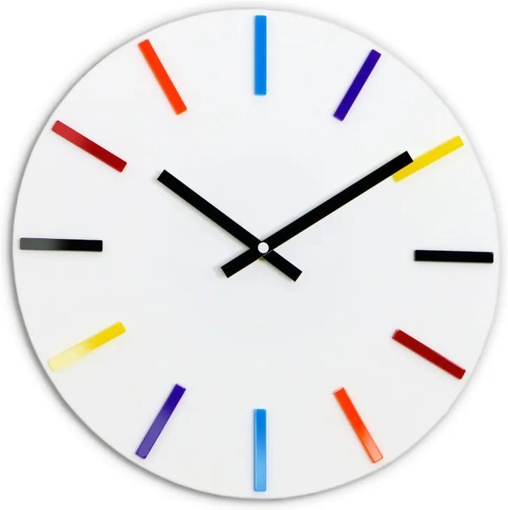 Moderné nástenné hodiny COLORFUL WHITE NH052-white
