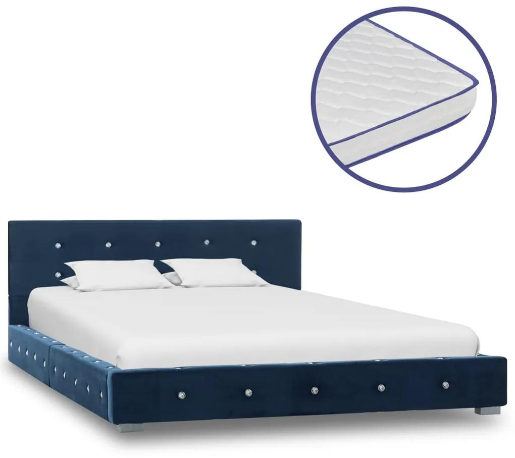 vidaXL Posteľ s matracom z pamäťovej peny modrá 120x200 cm zamatová