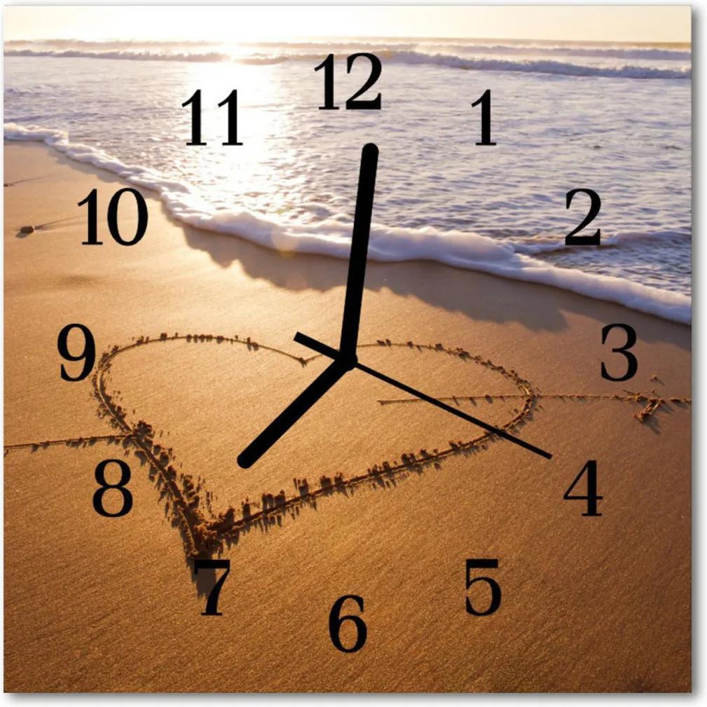 Skleněné hodiny čtvercové Srdce na pláži