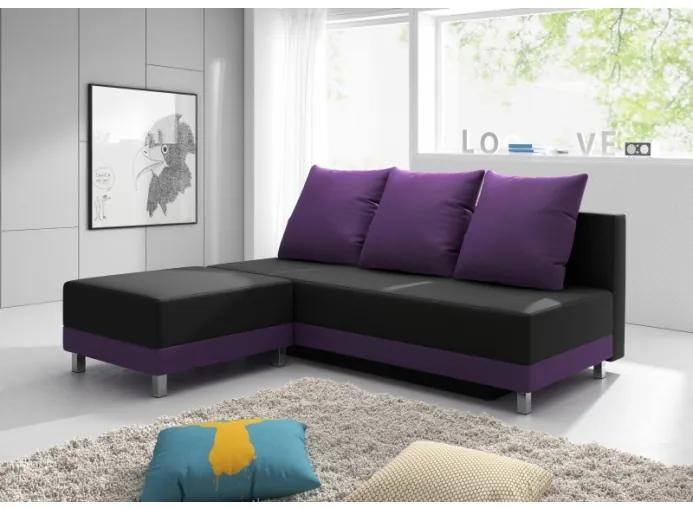 Zostava pohovky a taburetky Ivete, čierna + fialová