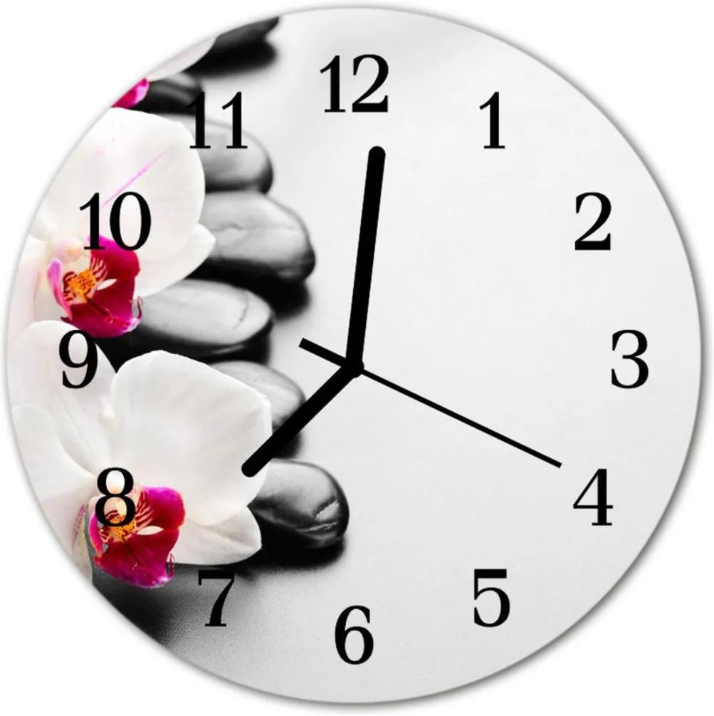 Skleněné hodiny kulaté Kameny orchidejí