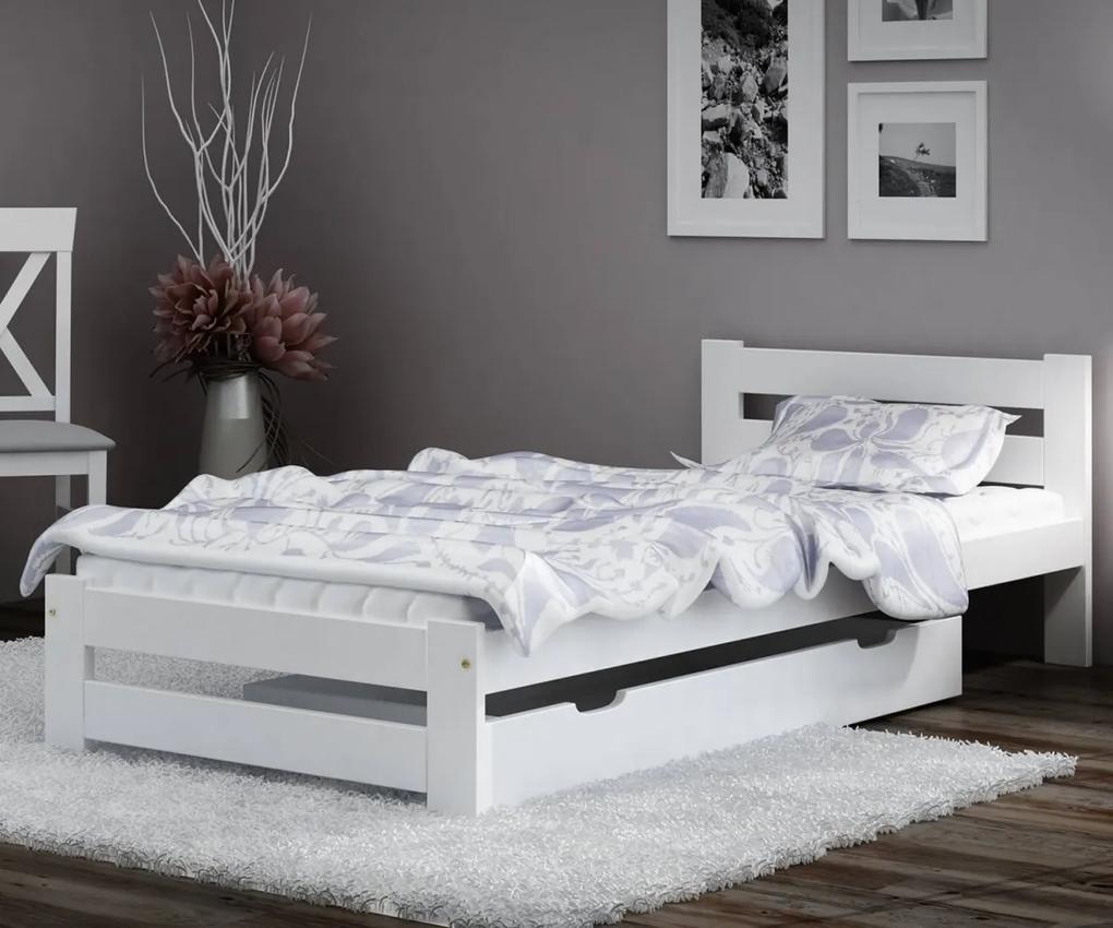 AMI nábytok Posteľ borovica Eureka VitBed 90x200cm masív biela