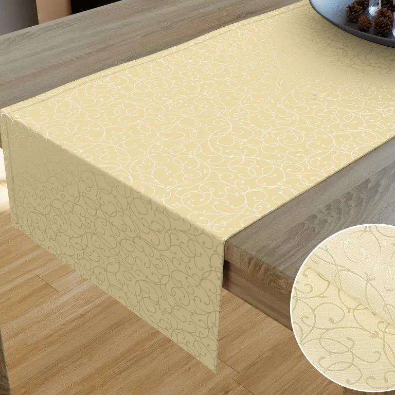 Goldea luxusný dekoračný behúň na stôl - vzor vanilková perokresba 20x120 cm