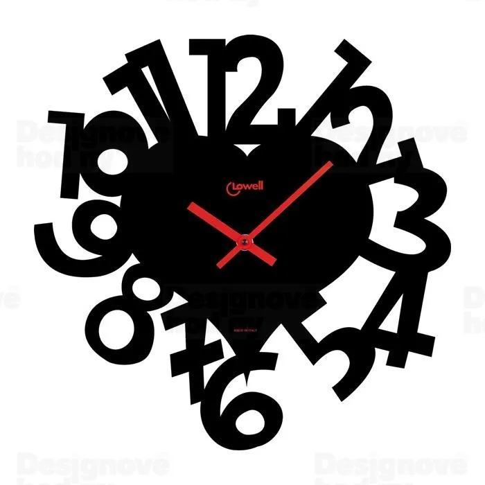 Bighome - Nástenné hodiny CUORE - čierna