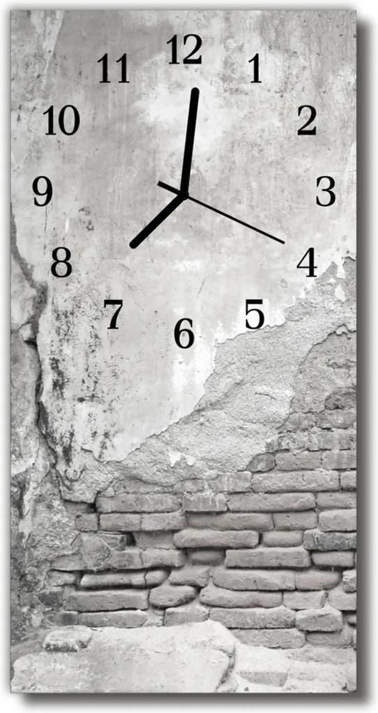 Skleněné hodiny vertikální Šedá stěna