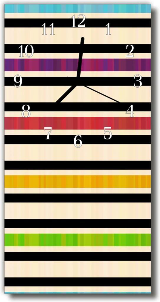 Skleněné hodiny vertikální Umělecké pruhy barevných čar