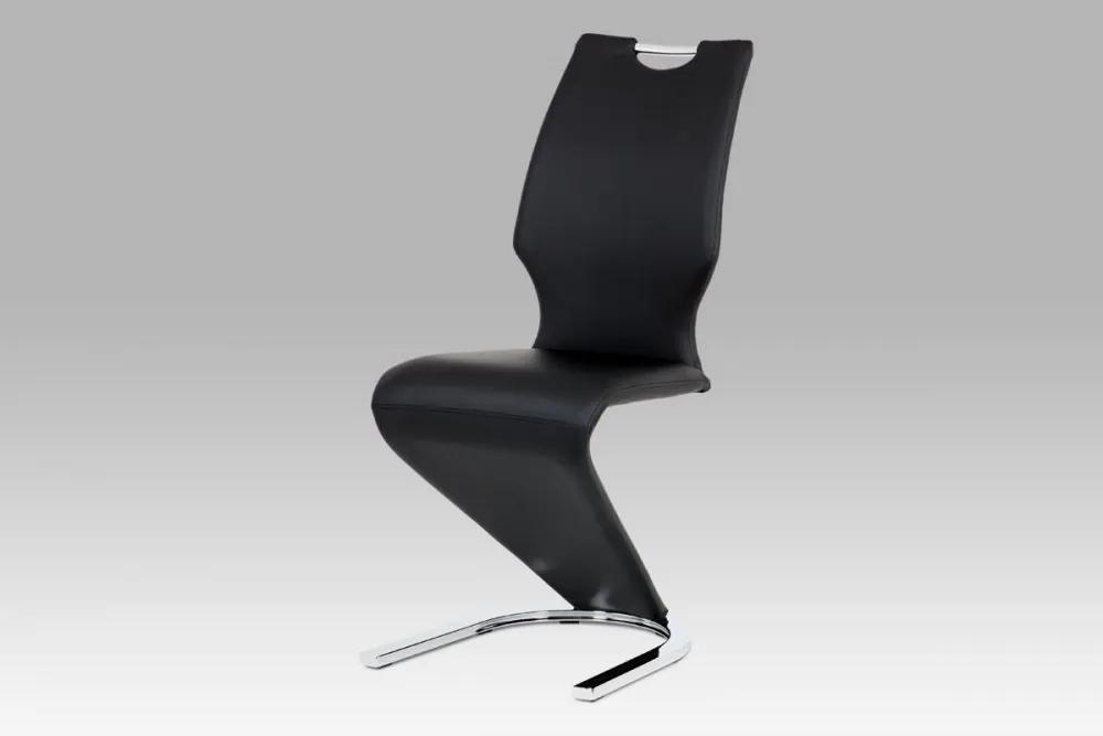 Jídelní židle koženka černá / chrom HC-997 BK Autronic