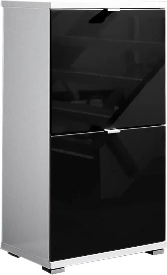 Biela skrinka na topánky s čiernymi zásuvkami Germania Colorado, výška 91 cm
