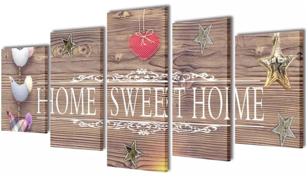 1b7e37a91 Sada obrazov na stenu s nápisom Home Sweet Home 100 x 50 cm | Biano
