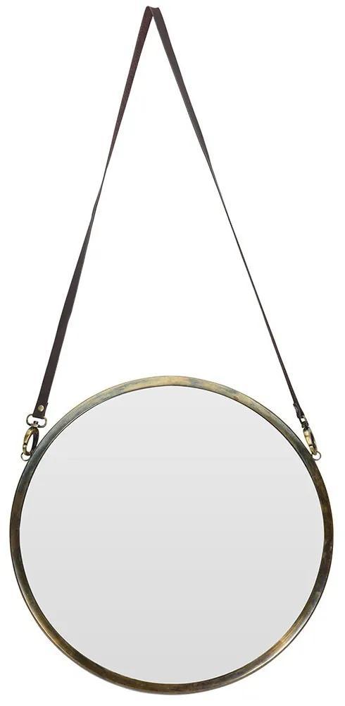 DekorStyle Kulaté zrcadlo na koženém popruhu 42 cm