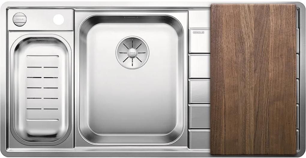 Blanco AXIS III 6 S-IF Edition InFino nerez hodvábny lesk drez vľavo s excentrom a príslušenstvom