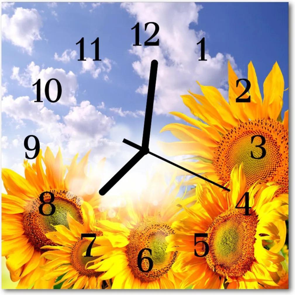 Nástenné skleněné hodiny slunečnice