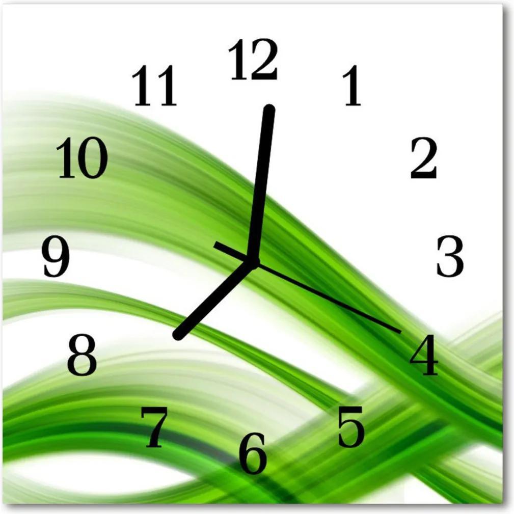 Skleněné hodiny čtvercové Wave abstrakce
