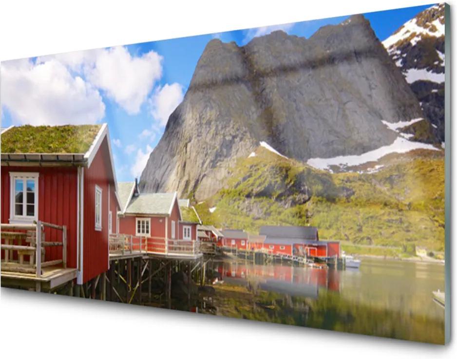 Skleněný obraz Domy jezero hory krajina