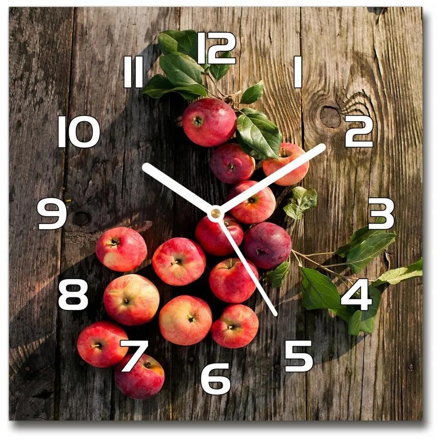 Sklenené hodiny štvorec Jablká na stole pl_zsk_30x30_f_121264819