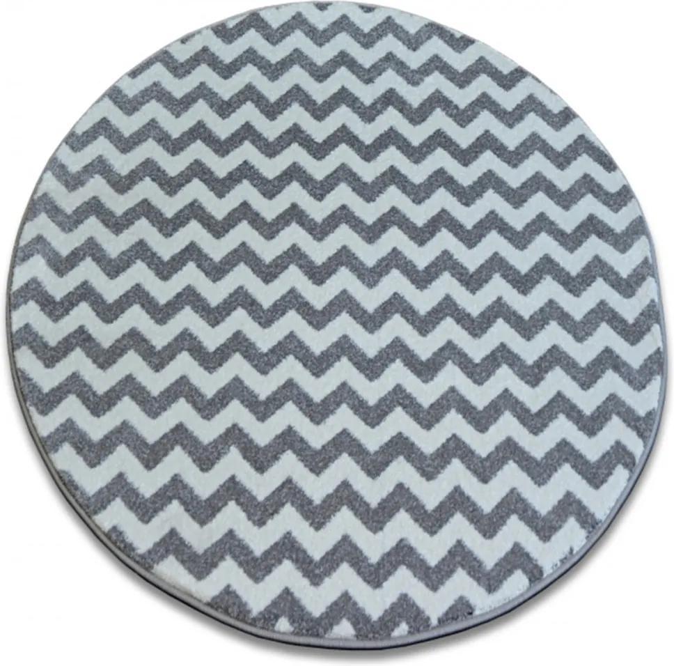 Kusový koberec Nero šedobiely kruh, Velikosti 100cm