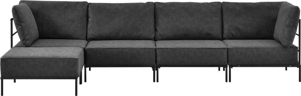 [en.casa]® Pohovka / sedacia súprava - variabilná 4 miestna s podnožkou - koženka - čierna