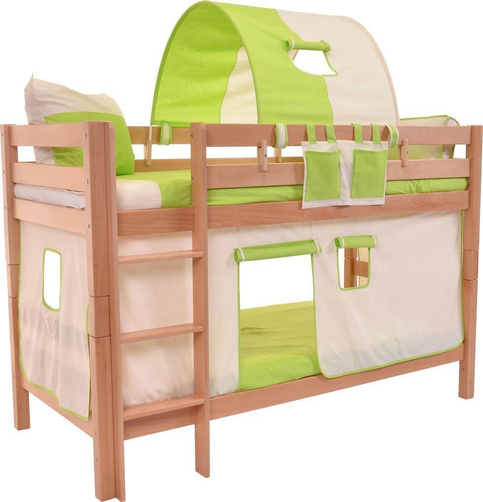 MAXMAX Detská poschodová posteľ s domčekom BEIGE - MARK 200x90cm - prírodná 200x90 pre všetkých NIE