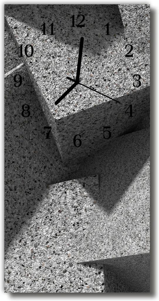 Skleněné hodiny vertikální Mramorově šedý stůl