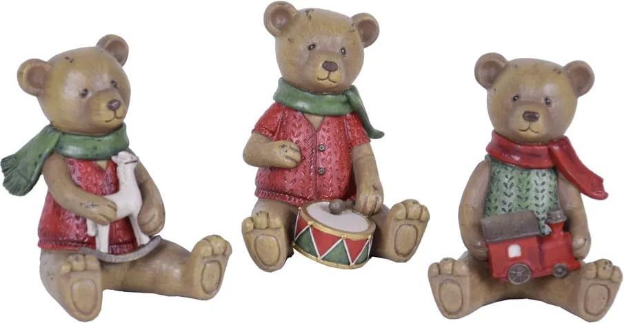 Sada 3 vianočných dekorácií v tvare medvedíka Ego Dekor