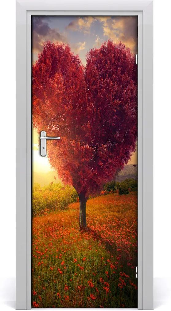 Fototapeta na dveře samolepící Dřevo srdce