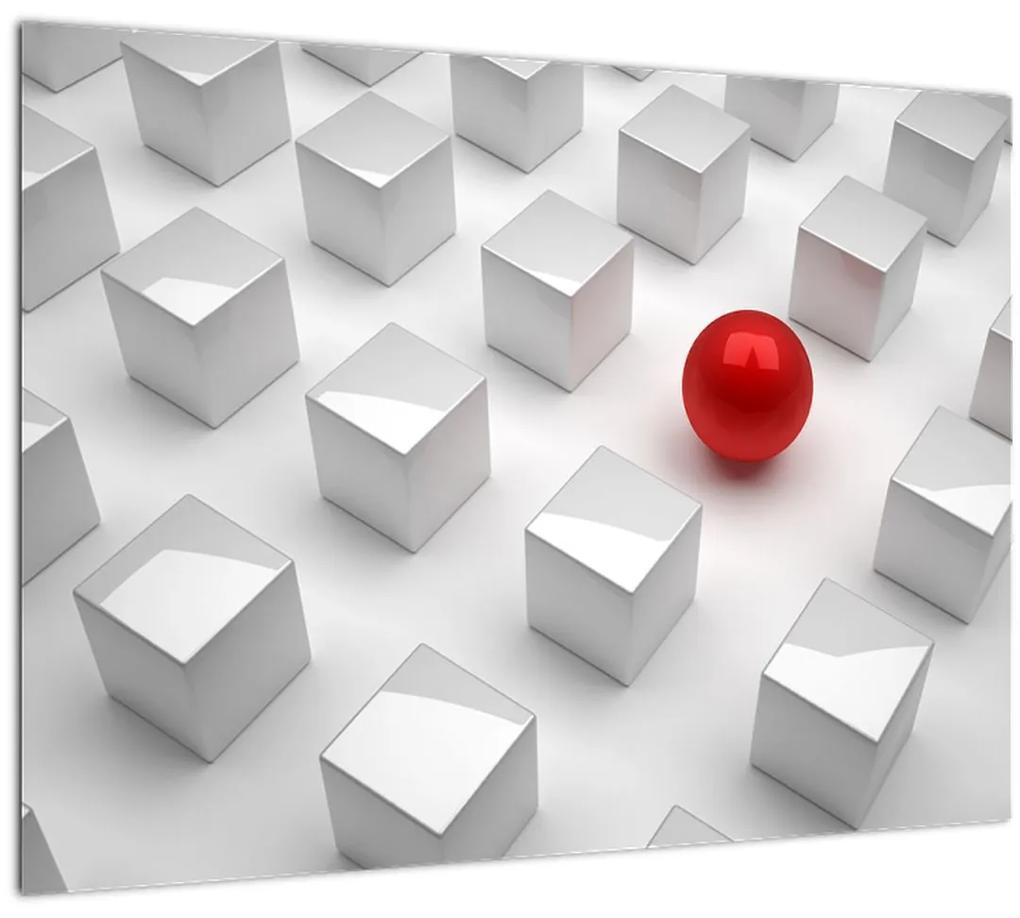 Obraz abstrakcie - kocky s guľou (70x50 cm), 40 ďalších rozmerov