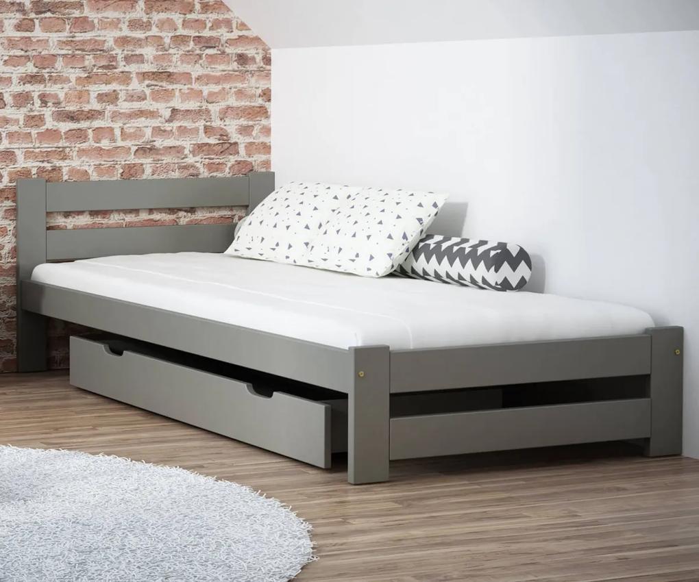 AMI nábytok Posteľ borovica Eureka VitBed 90x200cm masív šedá