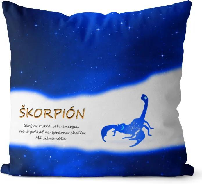 Vankúš Znamenie Škorpión (23.10. - 22.11.) - modrý (Veľkosť: 55 x 55 cm)