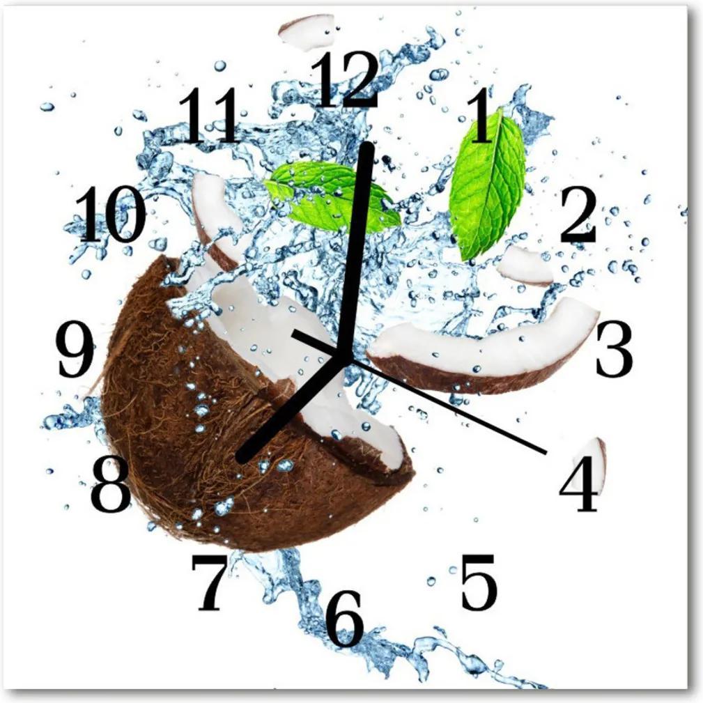 Nástenné skleněné hodiny Kokosový ořech