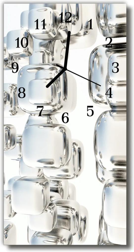 Skleněné hodiny vertikální Art Bone silver
