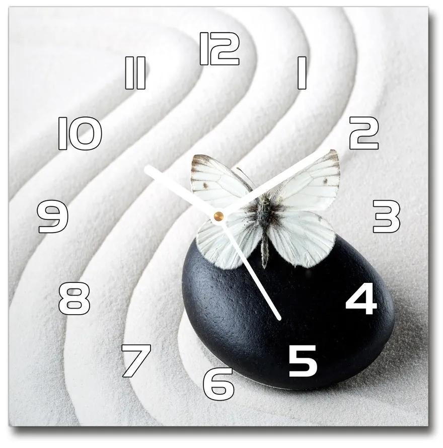 Sklenené hodiny štvorec Kameň zen a motýľ pl_zsk_30x30_f_62915953