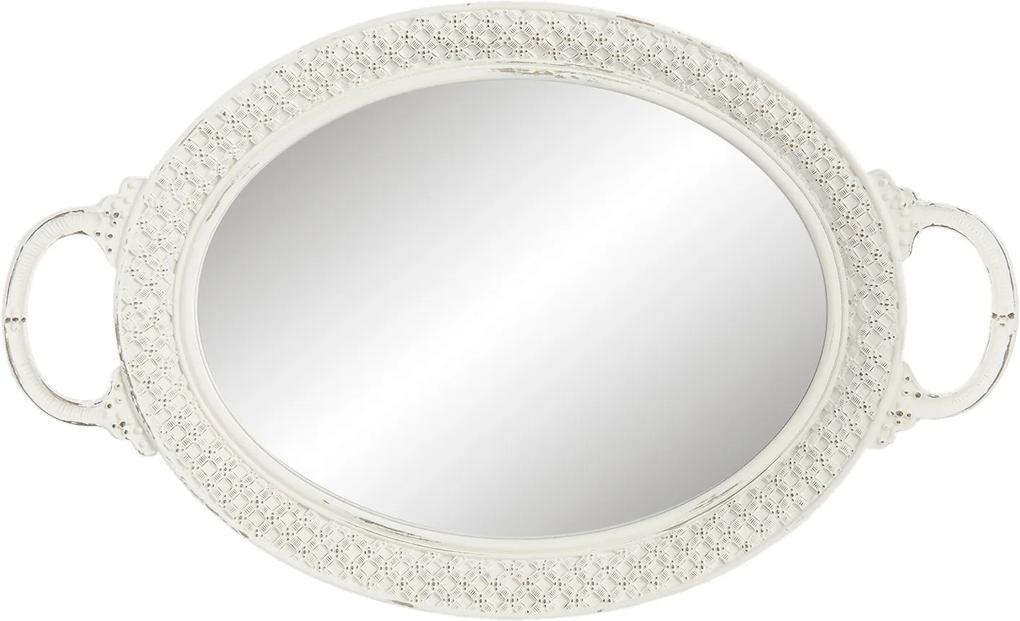 Biely oválny podnos so zrkadlom - 39*24*4 cm